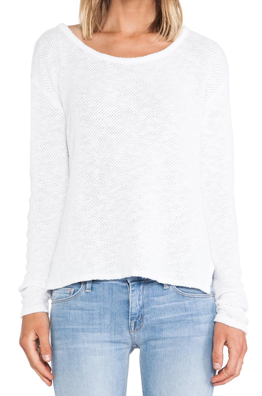 Velvet by Graham & Spencer Peta Cotton Crochet Sweater in White   REVOLVE