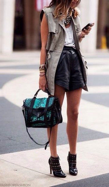 shorts high waisted High waisted shorts coat bag military green vest leather shorts black shorts top white top streetstyle ankle boots boots black boots handbag vest statement necklace necklace
