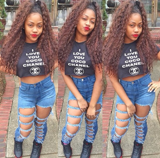 theylovetrinnn ripped jeans high waisted jeans ripped jeans crop tops graphic tee t-shirt shirt