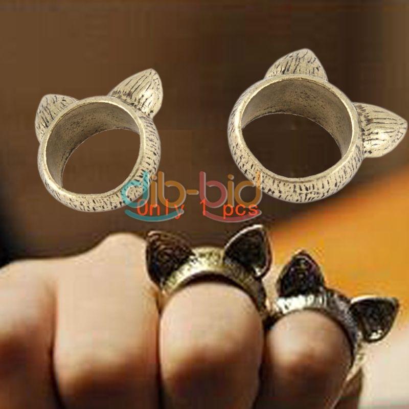 Fashion Exquisite Korean Charming Style Retro Cute Cat Ear Ring Size 8 Halloween | eBay