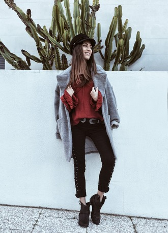 mexiquer blogger wool coat grey coat black pants fisherman cap lace up pants double buckle belt black belt cropped pants blouse red blouse red top hat black hat fall outfits black boots flat boots boots