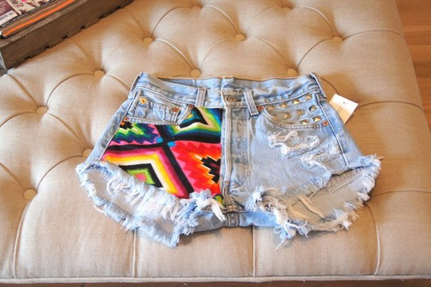 shorts studded studded shorts aztec denim shorts