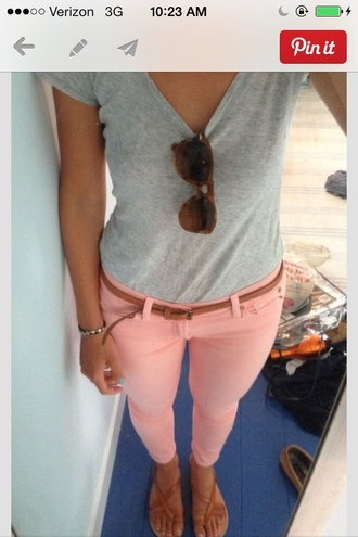 pants grey vneck pink jeans leather belt jeans pinkish orange sunglasses coral salmon spring pink cute belt coral jeggings light pink colored jeans summer outfits colorful colored pants tumblr outfit tumblr style jeggings skinny pants skinny jeans style top pink peach coral pastel jeans shirt capris bottoms coral pants pink pants stretchy