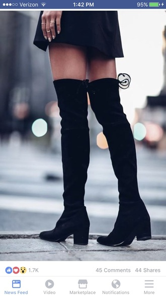 shoes black low heel thigh high boots