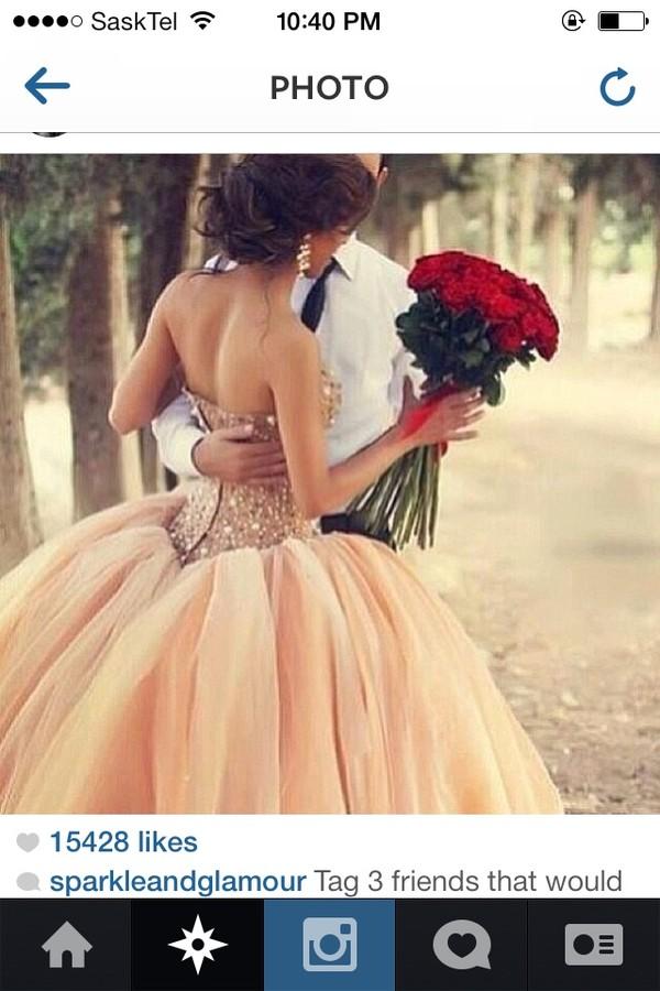 dress peach dress ball gown dress graduation dresses wedding dress tulle skirt poofy dress poofy prom dress sequin dress