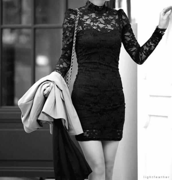 dress lace dress little black dress sexy long sleeve dress