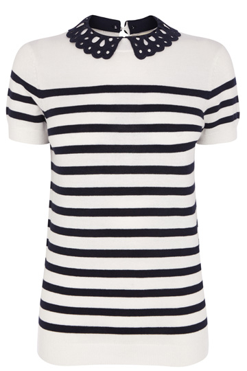 Broderie Collar Stripe Top | Blue | Oasis Stores