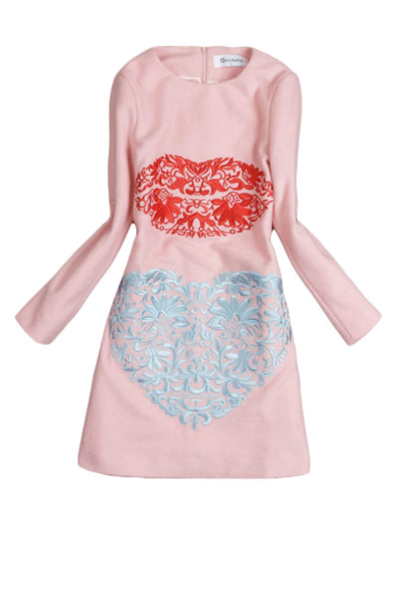 Embroidery Lip Pattern Long Sleeve Woolen Dress,Cheap in Wendybox.com
