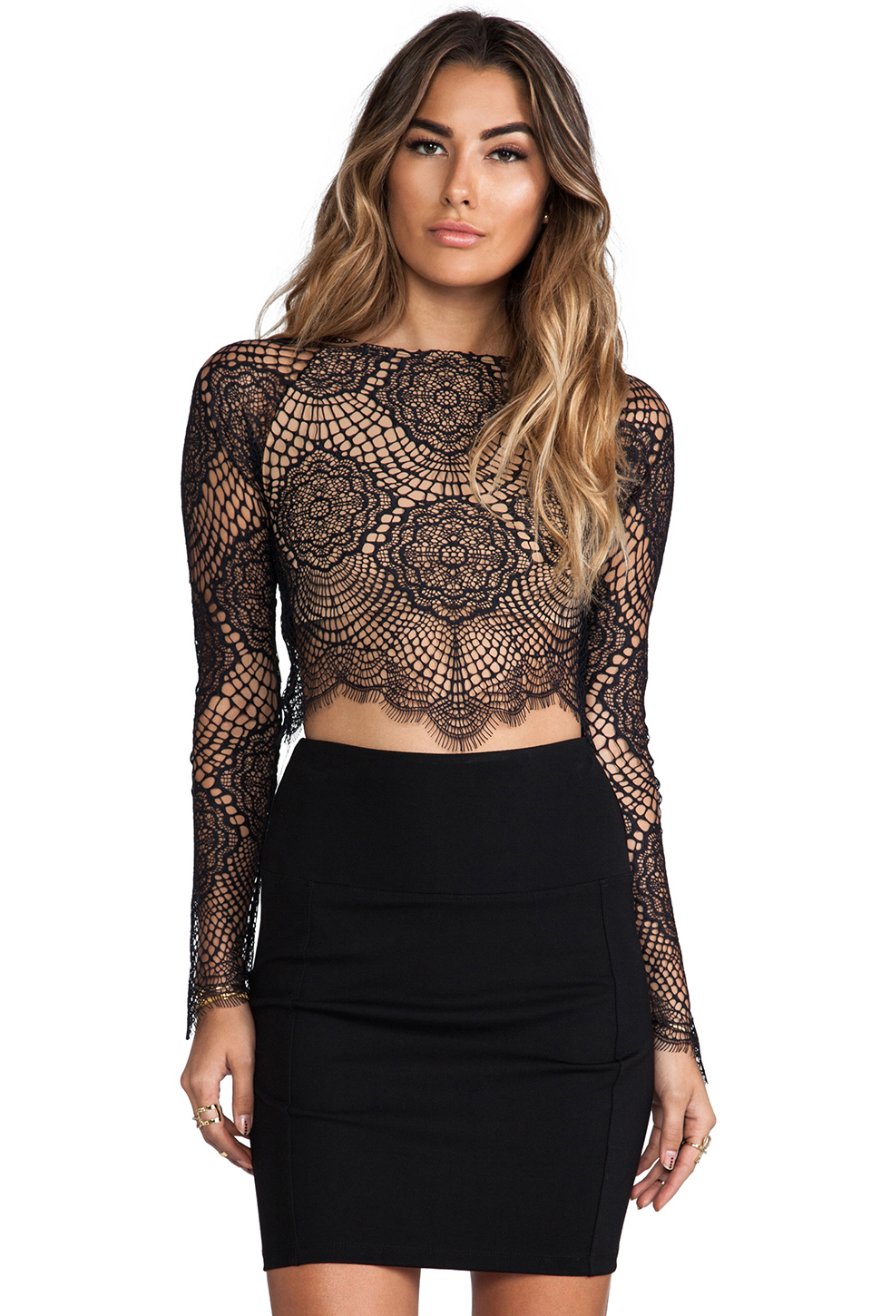 For Love & Lemons Grace Crop Top in Black | REVOLVE
