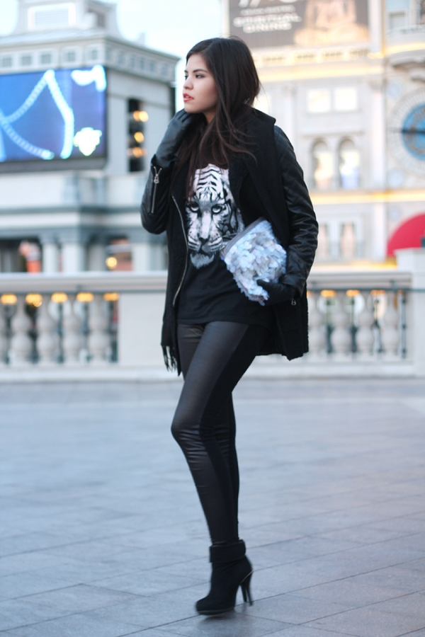 Cloth Skinny Leggings with Contrast Faux Leather Front - OASAP.com