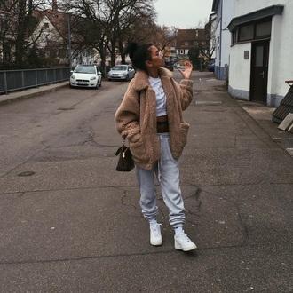 coat borg coat beige camel grunge borg beige coat camel coat oversized coat