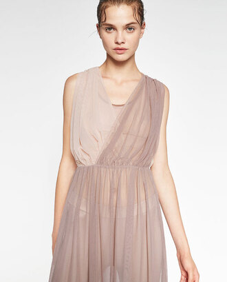 dress tulle dress ballerina girly feminine zara nude dress