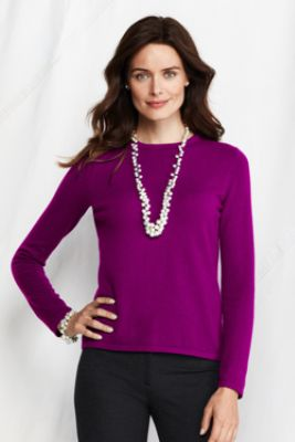 Women's Solid Classic Cashmere Tee from Lands' End