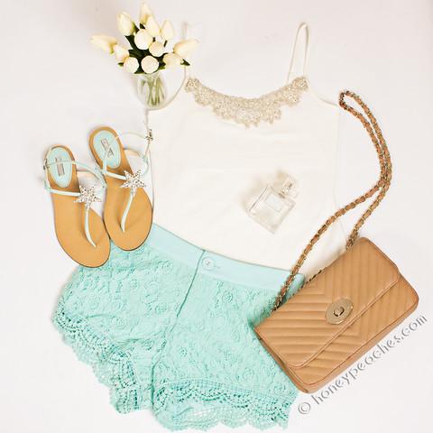 Sweet Lace Mint Shorts | Honey Peaches