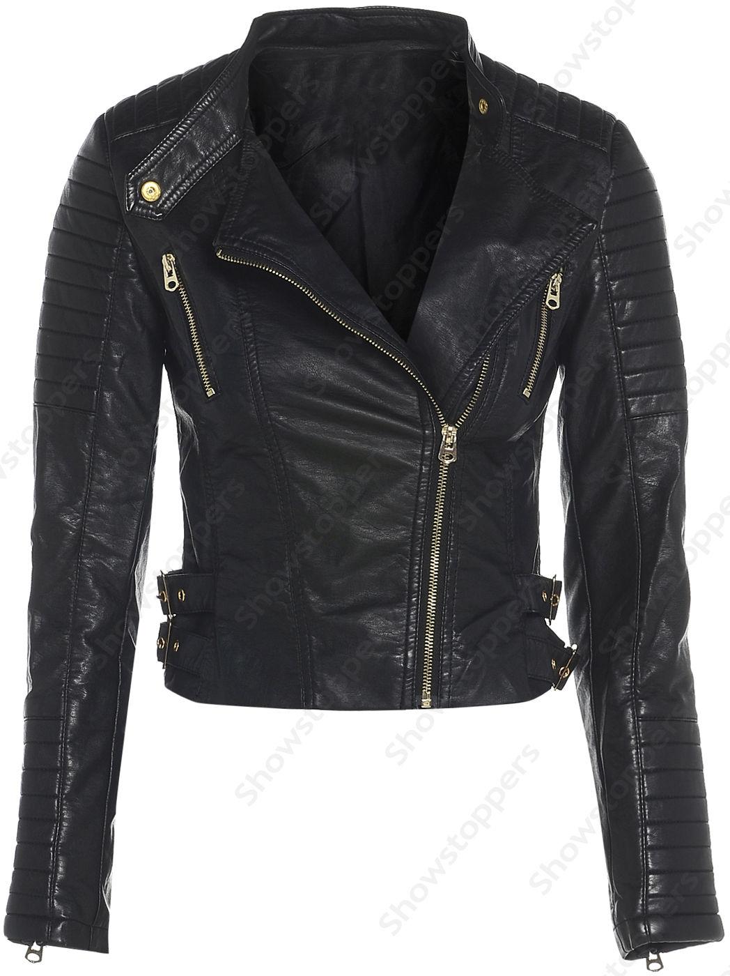Size 8 10 12 14 16 NEW Womens BIKER JACKET Crop FAUX LEATHER Ladies ZIP Coat | eBay
