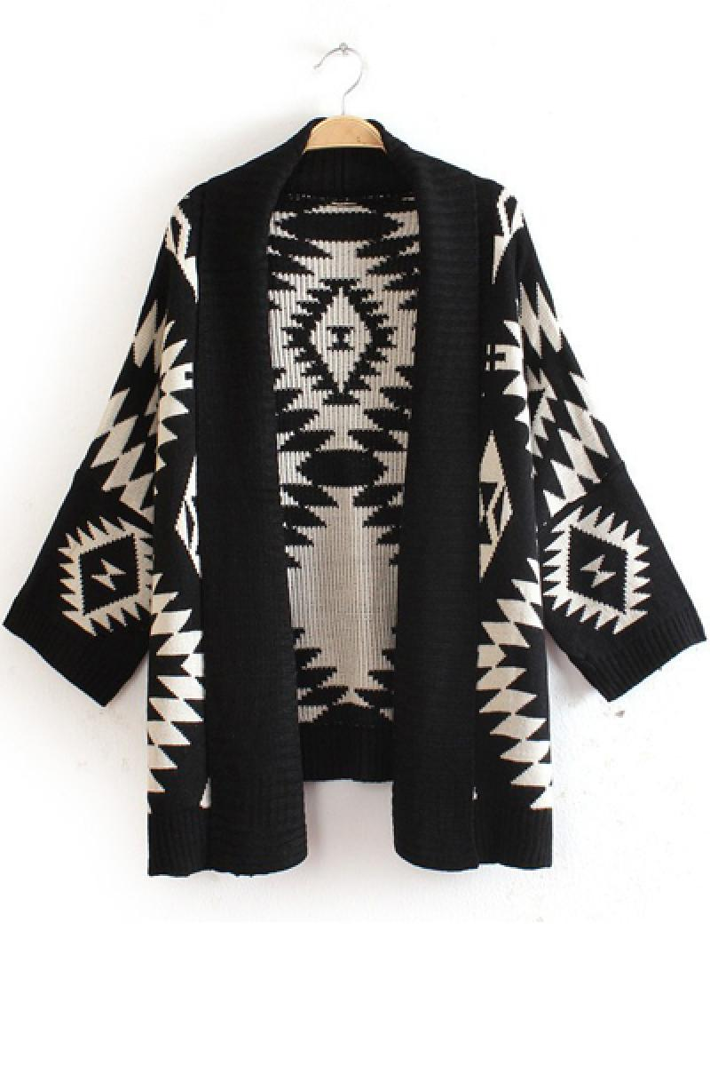 Geometric Patterns Atmospheric Cardigan Knitted Cloak,Cheap in Wendybox.com
