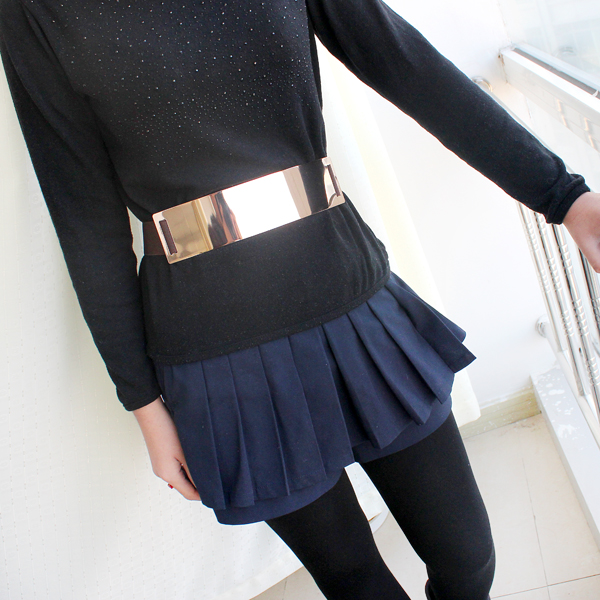 Coffee Elastic Contrast Metal Wide Belt - Sheinside.com