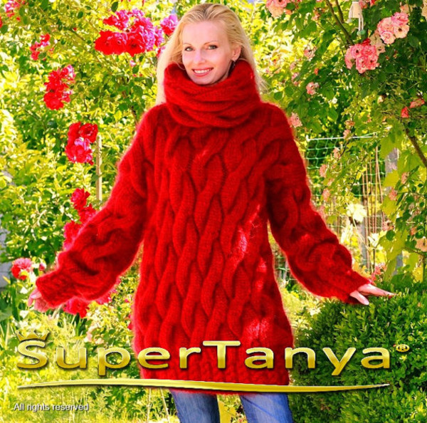 sweater hand knit made mohair cable turtleneck supertanya soft fluffy fluffy angora cashmere wool alpaca