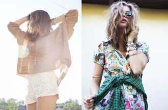dress nastygal lookbook floral floral dress mixed prints mixed prints look stacked bracelets stacked jewelry handpiece 90s style grunge girly grunge crochet crosses cross jewelry shirt jewels sweater shorts