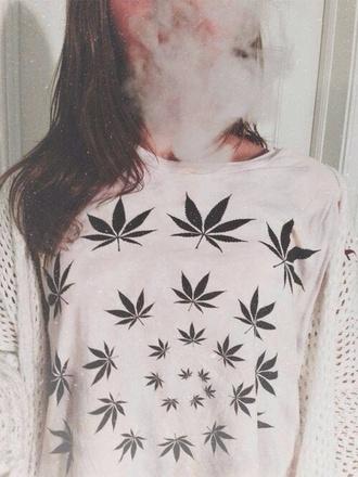 sweater white weed cool weed shirt shirt white sweater grass dope marijuana blouse