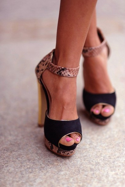 Shoes: black suede snake skin high heels sandals gold open