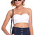 ROMWE | Blue Dotted Embroidered White Bandeau, The Latest Street Fashion