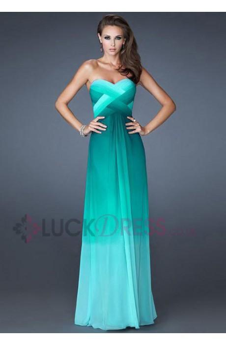 A-line Chiffon Strapless Sleeveless Prom Cocktail Dresses - Luckdress.co.uk