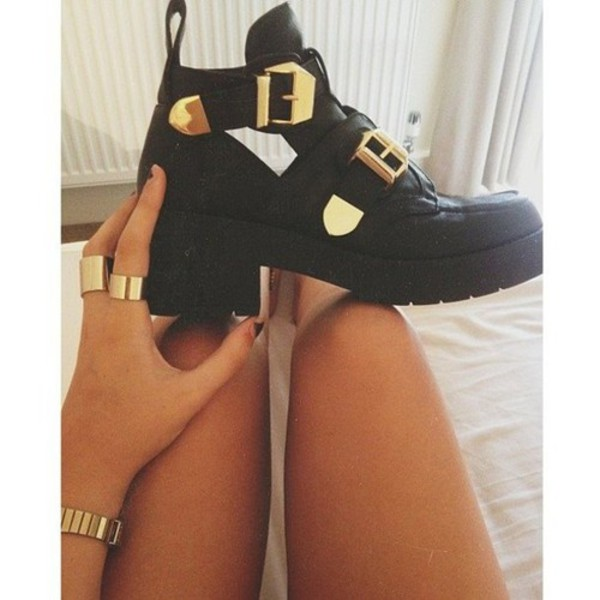 shoes cut-out cute black gold leather buckles ankle boots