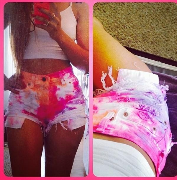 shorts tie dye fashion distressed denim shorts summer outfits