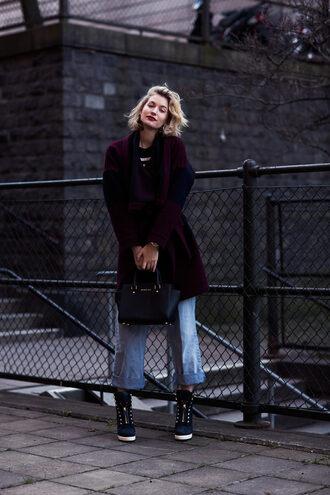 zanita blogger jewels jeans bag winter outfits wedge sneakers culottes denim culottes blue jeans burgundy coat black bag michael kors bag michael kors