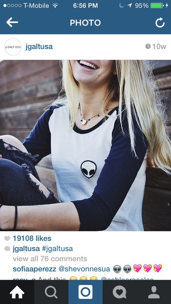 shirt black and white baseball tee alien grunge