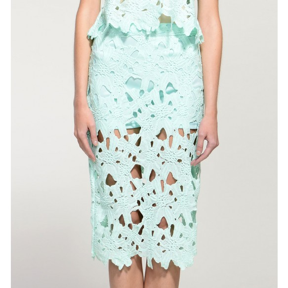 Sheer Lace Crochet Skirt at Style Moi