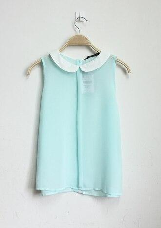 shirt mint blue chiffon peter pan collar blouse cyan blouse