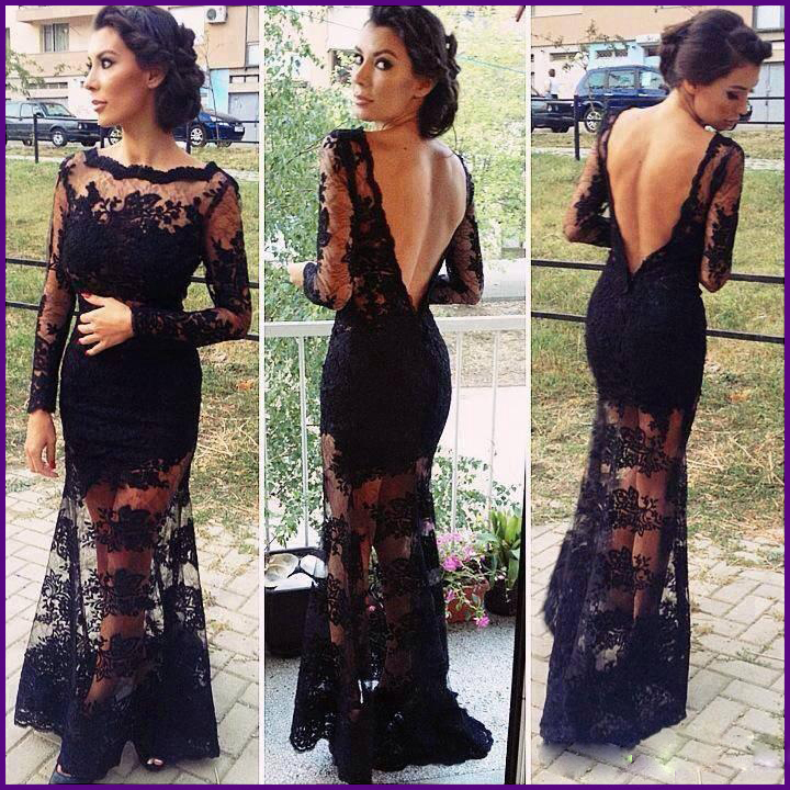 Elegant Transparent Scalloped Neckline Long Sleeves Sheer Tulle Black Lace Backless Formal Evening Dresses Real Dress 2014 i0045-in Evening Dresses from Apparel & Accessories on Aliexpress.com