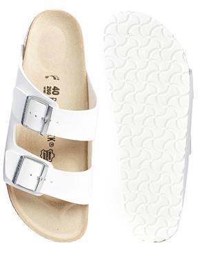 Birkenstock   Birkenstock Arizona White Flat Sandals at ASOS