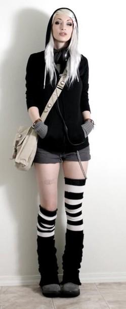 socks black and white stripes punk emo lolita thigh highs
