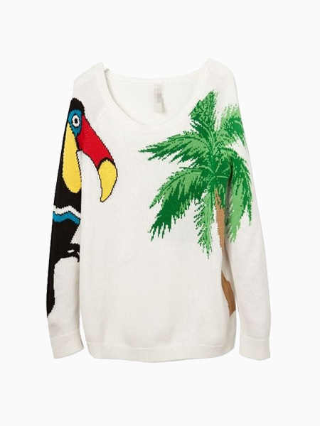 Crew Knitted Jumper With Parrot And Coconut Tree Pattern | Choies