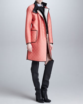 3.1 Phillip Lim Quilted Overcoat with Leather Bib, Roll-Neck Cropped Pullover & Pinstripe Shadow Blouse - Neiman Marcus
