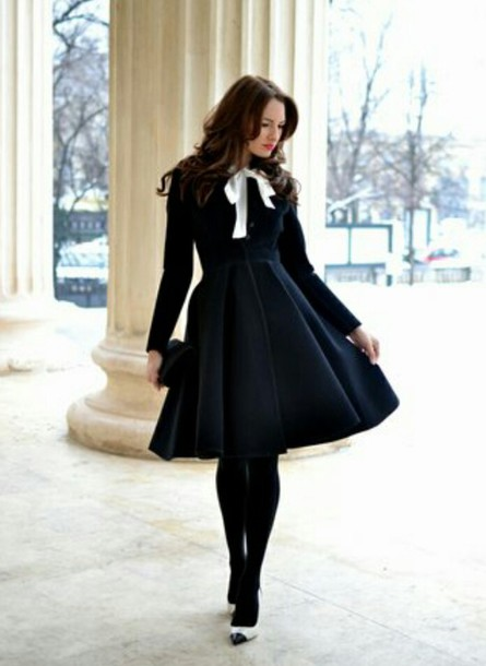 dress black dress long sleeve dress knee length dress