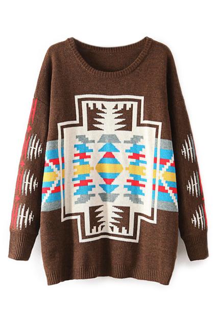 ROMWE | ROMWE Geometric Knitted Color Block Coffee Cardigan, The Latest Street Fashion