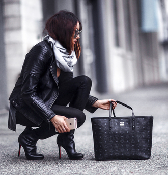 fashionedchic blogger jacket shirt jeans scarf bag jewels shoes black leather jacket tote bag mcm bag ankle boots black pants