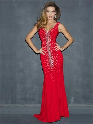 Sexy Sheath Straps V-neck Crystals Low Back Chiffon Prom Dress PD11387