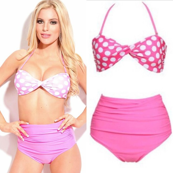 swimwear swimwear swimwear bikini bikini pink bikini polkadot bikini pink polka dot beach summer high wasit waist high waisted vintage swimwearf vintage swimwear