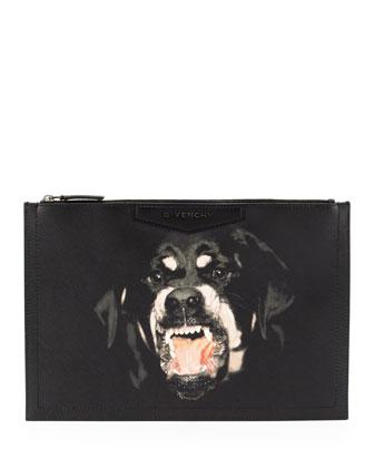Givenchy Antigona Rottweiler-Print Coated Canvas Zip Pouch
