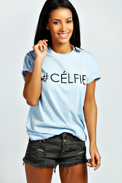 Lola #Celfie Slogan Oversized Tee at boohoo.com