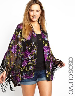 ASOS Curve | ASOS CURVE Kimono In Floral With Fringe Sleeves at ASOS