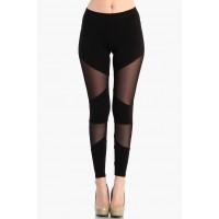 OMG Sheer Diagonal Mesh Leggings - Black