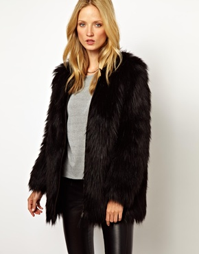 Selected   Selected Sierra Faux Fur Coat with Leather Detail at ASOS