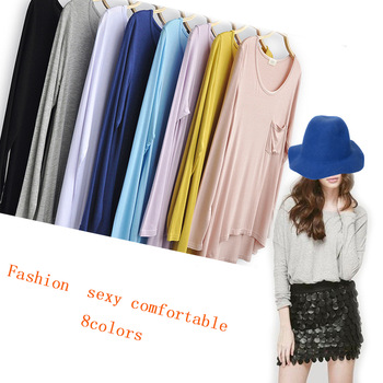Good Quality 2013Autumn Wholesale Fashion Pocket Thin Loose PLus Size Loong Sleeve Model Cotton T shirt for Women -in T-Shirts from Apparel & Accessories on Aliexpress.com