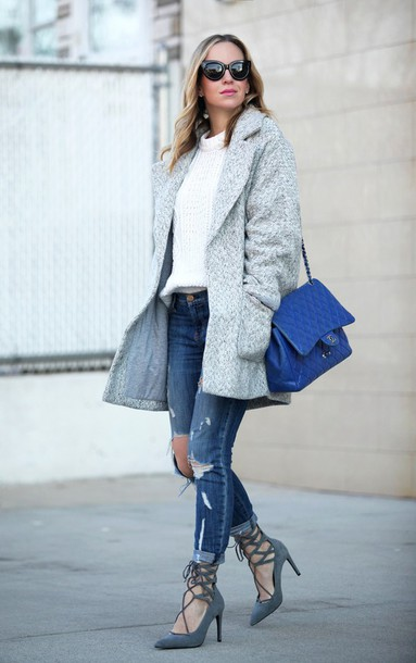 brooklyn blonde blogger grey coat strappy sandals blue bag white sweater coat sweater jeans shoes bag sunglasses white cable knit sweater cable knit black sunglasses cat eye ripped jeans blue jeans